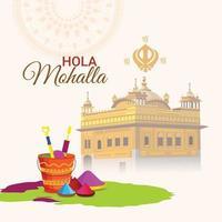sikh festival hola mohalla celebrazione con illustrazione del tempio d'oro vettore