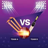 concetto di partita di torneo di cricket con attrezzature da stadio e cricket vettore