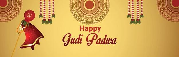 illustrazione di celebrazione felice gudi padwa con kalash realistico vettore