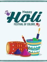 biglietto di auguri felice festival indiano di holi con vaso di fango in polvere e vernice colorata vettore