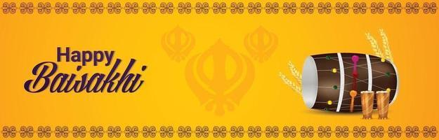 illustrazione vettoriale creativo di banner vaisakhi felice