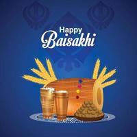 celebrazione felice dell'illustrazione del festival sikh di vaisakhi vettore