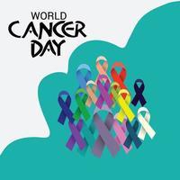 illustrazione vettoriale di uno sfondo per il nastro di consapevolezza della giornata mondiale del cancro.