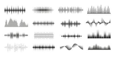 grande insieme monocromatico di onde sonore di musica. pannello della console. raccolta di musica audio. segnale radio elettronico. equalizzatore. vettore