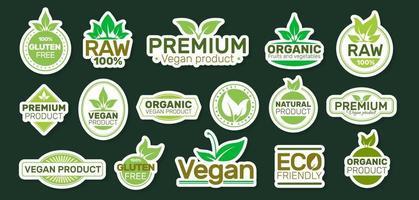 adesivi di ecologia con slogan. cerotto vegano. bio, biologico, fresco, sano. disegno di illustrazione vettoriale. vettore