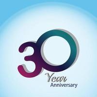 30 anni di anniversario logo modello vettoriale illustrazione design blu e bianco