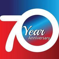 Illustrazione di progettazione del modello di vettore di logo di anniversario di 70 anni