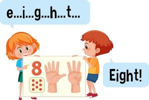 personaggio dei cartoni animati di due bambini che ortografano il numero otto vettore