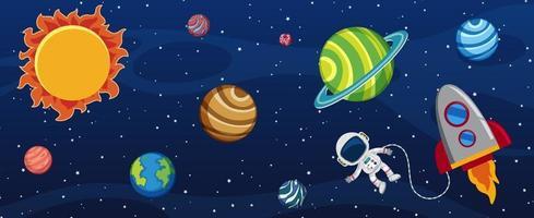 molti pianeti nella galassia con un astronauta e una nave spaziale vettore