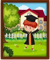 una foto del bambino dell'asilo in costume da laurea vettore