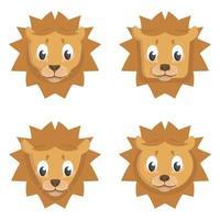 set di leoni dei cartoni animati. vettore