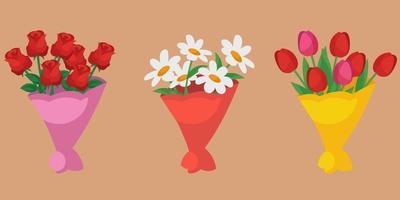 set di mazzi di fiori diversi. vettore