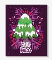 buon natale poster con albero carino vettore