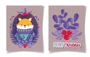 Merry Christmas card set con volpe e bacche di agrifoglio vettore