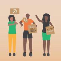 questioni di vita nera fermare il razzismo un gruppo con cartelli vettore