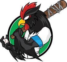 mascotte di baseball gallo nero vettore