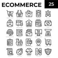 icone di linea di e-commerce vettore