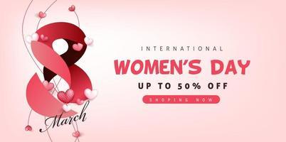 modello di banner di vendita della giornata internazionale della donna. vettore