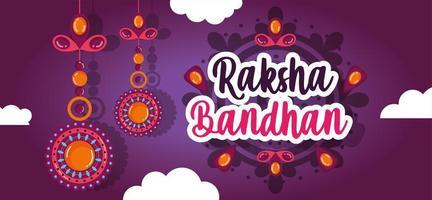 felice design di banner raksha bandhan vettore