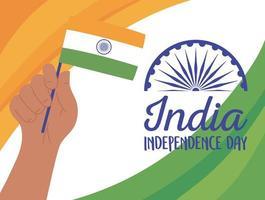 felice giorno dell'indipendenza dell'india con ruota e bandiera di ashoka vettore
