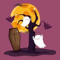 felice immagine di halloween con simpatici fantasmi vettore