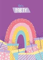 biglietto di auguri di compleanno colorato con doni e arcobaleno vettore