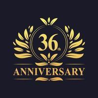 Design del 36 ° anniversario, lussuoso logo dell'anniversario di 36 anni di colore dorato. vettore