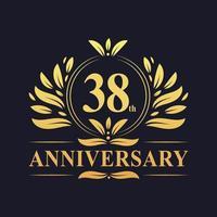 Design del 38 ° anniversario, lussuoso logo dell'anniversario di 38 anni di colore dorato. vettore