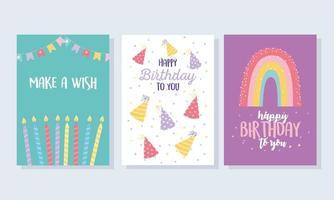 set di carte di compleanno colorate vettore