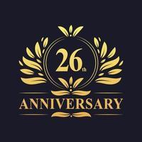 Design del 26 ° anniversario, logo dell'anniversario di 26 anni di colore dorato di lusso. vettore