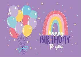 biglietto di auguri di compleanno colorato con palloncino e arcobaleno vettore