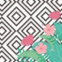 estate tropicale foglie e fiori di sfondo vettore