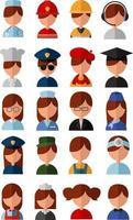 set di icone di diverse professioni vettore