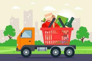 il camion sta trasportando un cestino della spesa. consegna a domicilio di generi alimentari. illustrazione vettoriale piatta.