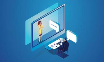 evento virtuale le persone utilizzano la videoconferenza. persona che lavora sullo schermo della finestra a parlare con i colleghi. videoconferenza e pagina dell'area di lavoro per riunioni online vettore