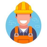 icona di un simpatico costruttore in un elmetto su uno sfondo di muro di mattoni. illustrazione vettoriale piatta.