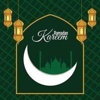 sfondo festival islamico di ramadan kareem con lanterne islamiche vettore