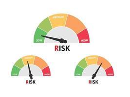 set di tachimetro di elemento misuratore di livello con livello di rischio in un design piatto vettore