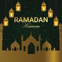 sfondo islamico con luna e lanterne vettore