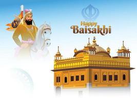 felice sfondo vaisakhi con illustrazione del tempio d'oro vettore