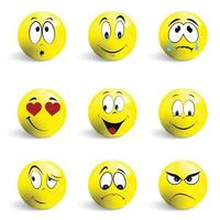 set di emoticon. set di emoji. sorriso icone isolate su sfondo bianco. vettore