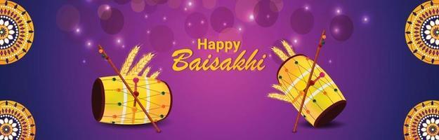 felice celebrazione vaisakhi banner design piatto con tamburo vettore