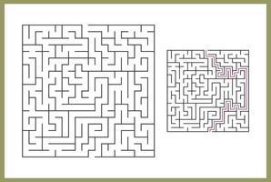 labirinto per bambini. labirinto quadrato astratto. trova la strada per il dono. gioco per bambini. puzzle per bambini. enigma del labirinto. illustrazione vettoriale piatto isolato su sfondo bianco. con risposta
