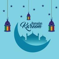 design piatto ramadan kareem con lanterne islamiche vettore