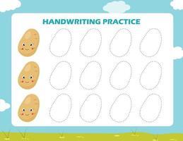 traccia le linee con la patata dei cartoni animati. pratica di abilità di scrittura. vettore