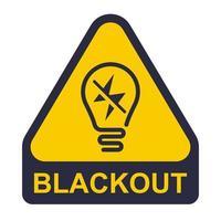 icona gialla di blackout. adesivo per interruzione di corrente. illustrazione vettoriale piatta