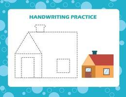 traccia le linee con la casa dei cartoni animati. pratica di abilità di scrittura. vettore