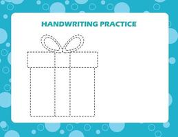 traccia le linee con la confezione regalo dei cartoni animati. pratica di abilità di scrittura. vettore