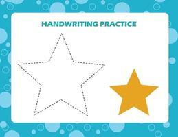 traccia le linee con la stella dei cartoni animati. pratica di abilità di scrittura. vettore