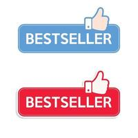 Best seller. set di icone. pollice in alto consigliato icona banner. vettore